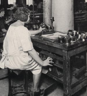factory testing antique car speedometers